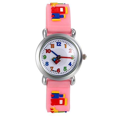 Lancardo 子供腕時計 キッズウォッチ 幼児 ガールズ/ボーイズ対応 カラー数字 アナデジ表示 積み木 知育 プレセット 誕生日 記念日 子供の日(ピンク)