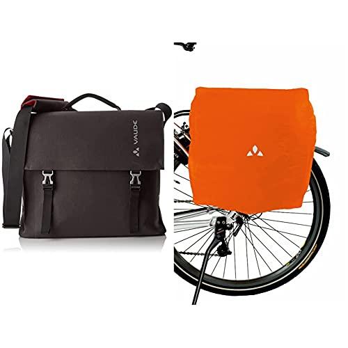VAUDE Radtasche Bayreuth III L, phantom black, One Size, 122296780 & Radtaschen Raincover for bike bags, orange, One Size, 125542270