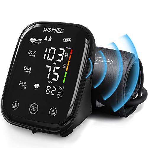 HOMIEE Oberarm Blutdruckmessgerät mit Sprachübertragung, Touchscreen blutdruck messgeräteTyp C-Schnittstelle, blutdruckmesser mit Arrhythmie Erkennung und Risikoindikator, 2 Benutzer 180 Messwerte