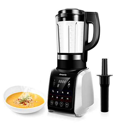 Amaste 1200W Cold and Hot Professional Countertop Blender, with 9 Presets Function and Cookbook, Perfect for Smoothies, Soup, Grind, Protein Shakes, Nonstick Glass Jar, 64 oz, Silver