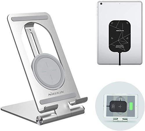 NILLKIN Soporte para iPad con Receptor de Carga inalámbrico, 2 en 1 Tablet Cargador inalámbrico Soporte para Soporte Dock Set para iPad Pro 11 2018/2020,Huawei M6,Samsung TAB S3/S4/S5, Xiaomi Mi4 Plus