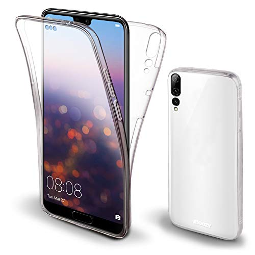 Moozy Cover Protezione 360 Gradi per Huawei P20 PRO Silicone Trasparente - Full Body Custodia TPU Case Copertura Completa