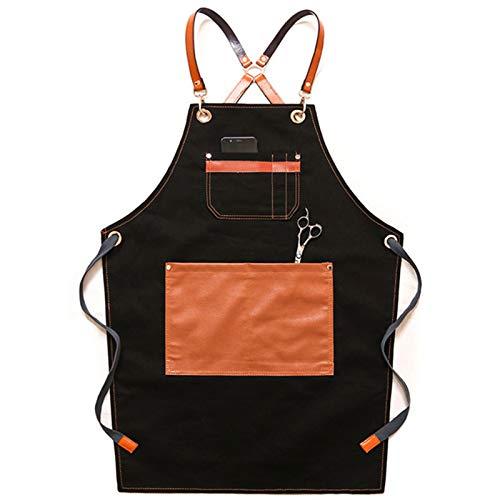 Mandil Parrillero -Delantal Parrillero con Piel - Kit Parrillero - Delantal Cocinero - Kit Carne Asada -Mandil Cocinero - Accesorios asado (Color : Black)