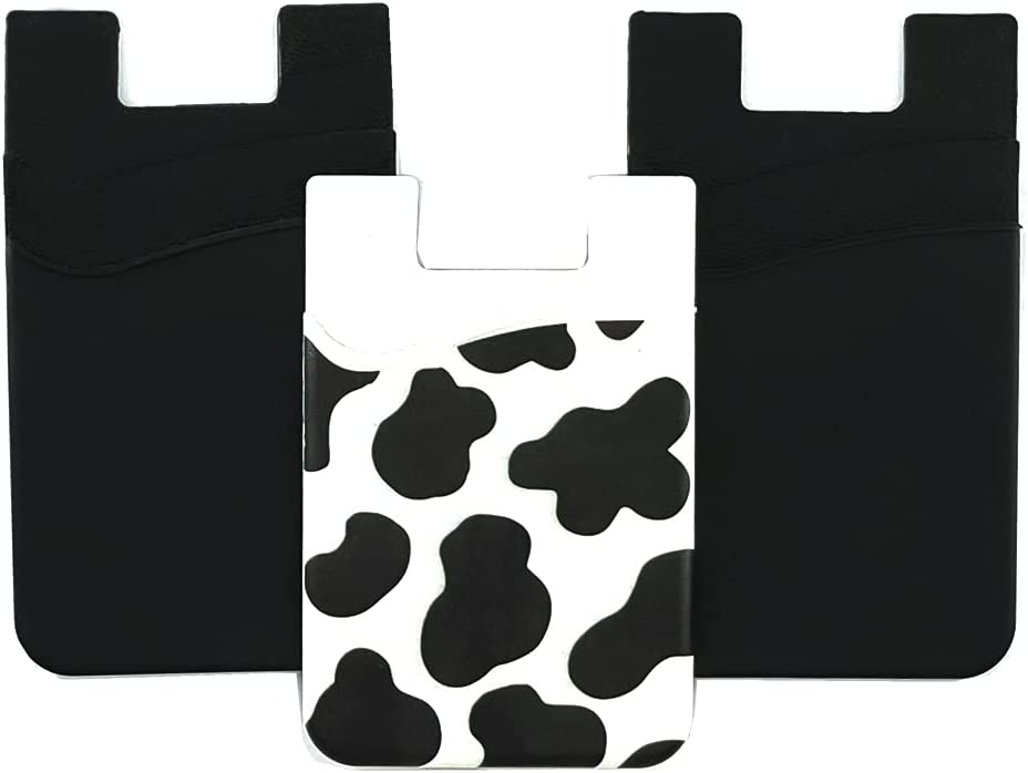 CalorMixs 3 Packs Silicone Black & Cow Stretchy Credit Card Holder for Back of Phone Pockets Rubber Adhesive Sticker on Phone Android Smartphones (Cow+2Black)