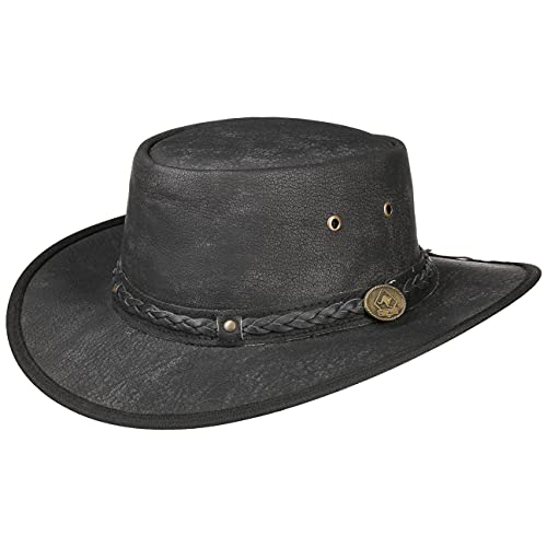 Scippis Chapeau en Cuir Springbrook (S (54-55 cm) - Noir)