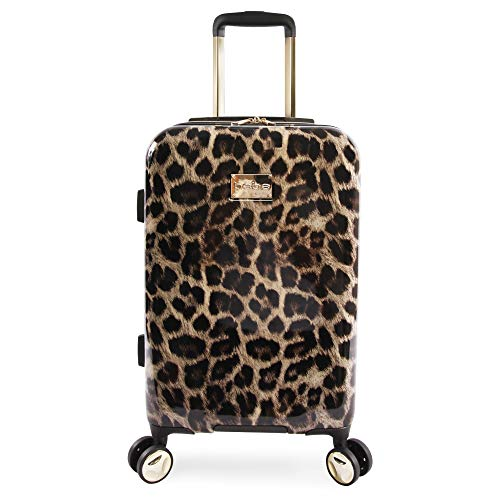 BEBE Women's Adriana 21' Hardside Carry-on Spinner Luggage, Leopard, One Size