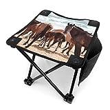 アウトドア 椅子 パタゴニアを歩く野生の馬 アウトドア 椅子 ピクニック 釣り コンパクト イス 持ち運び キャンプ用軽量 収納バッグ付き 折りたたみチェア レジャー 背もたれなし