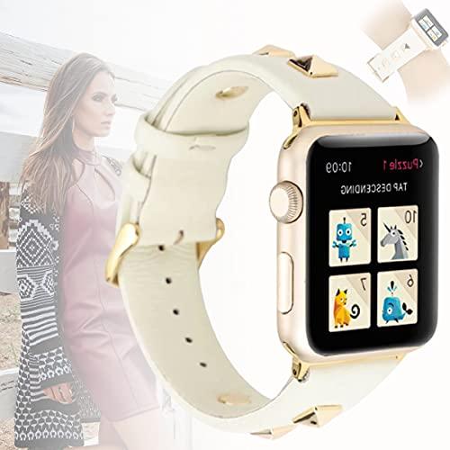 Compatible con Apple Watch Band 42mm 44mm Bandas Iwatch Reemplazo de Remaches Dorados Tachuelas Correa de Cuero para Las Series 6 y SE 5 4 3 2 1,44mm