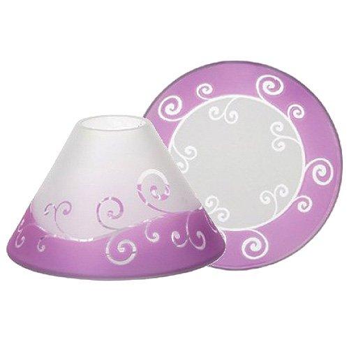 YANKEE CANDLE 1521498 Purple Scroll Paralume E Piatto Grande, Bianco/Porpora, 19.5X18.7X12.1 Cm