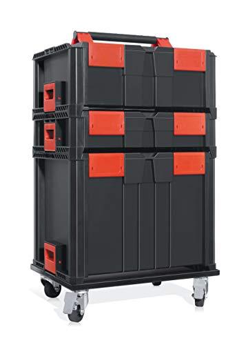 SMARTY - Profi Systemkoffer 5er Set, Werkzeugkoffer leer, Tragfähigkeit 200kg, fahrbar, für Kleinteile u Werkzeug