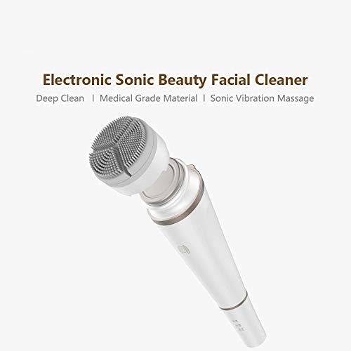 Electronic Sonic Beauty Facial Instrument,Deep Cleansing Face Skin Care Massager - For Clean Oil Dirt Girl Best Gift,White