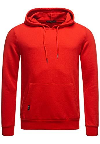 Redbridge Felpa da Uomo con Cappuccio Premium Basic Maglia in Cotone Rosso L