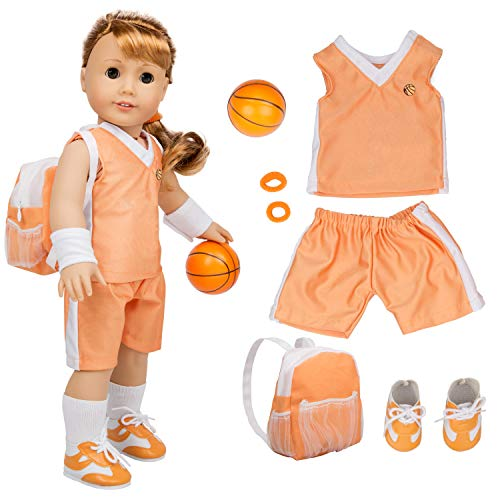 Dress Along Dolly Basketball Uniform Outfit for American Girl & 18' Dolls (8 Piece Set) - Includes Doll Clothes & Accessories - Premium Sports Apparel for Doll
