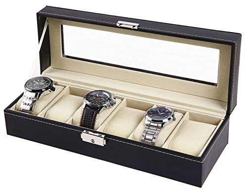 Price comparison product image Watch Organizer,  Ohuhu 6 Slot Watch Box PU Leather Watch Storage Case with Lock and Key,  Birthday Gifts Christmas Presents for Men and Women