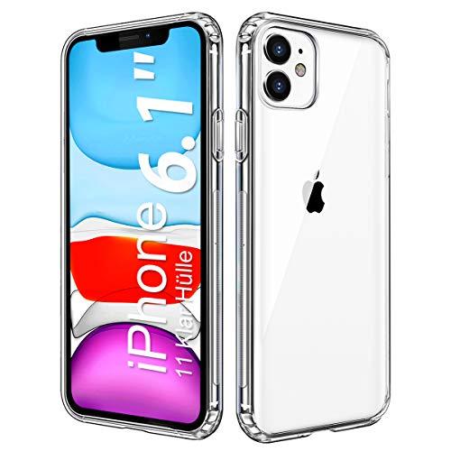 wsky Transparent Kompatibel mit iPhone 11 Hülle, Ultradünn TPU Silikon Anti-Gelb Handyhülle Case, Kratzfest Durchsichtige Schutzhülle, Hohe Qualität Weich Stoßfest iPhone 11 Handy Hülle - Klar