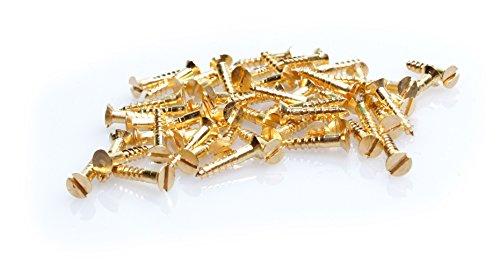 100 Stück MINI-Holzschrauben DIN 97 (Senkkopf mit Schlitz) Messing 2x8mm für Modellbau oder zur Restauration