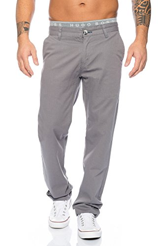Rock Creek Herren Designer Chino Stoff Hose Chinohose Regular Fit Herrenhose W29-W40 RC-2083 [RC-2083 - Grau - W32 L32]