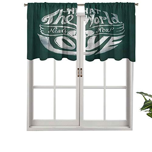 "Hiiiman Cenefas de cortina opacas con bolsillo para barra cortas, paneles de cortina con texto en inglés ""What The World Needs Now is Love"", juego de 2, 42 x 36 pulgadas para cocina y baño"