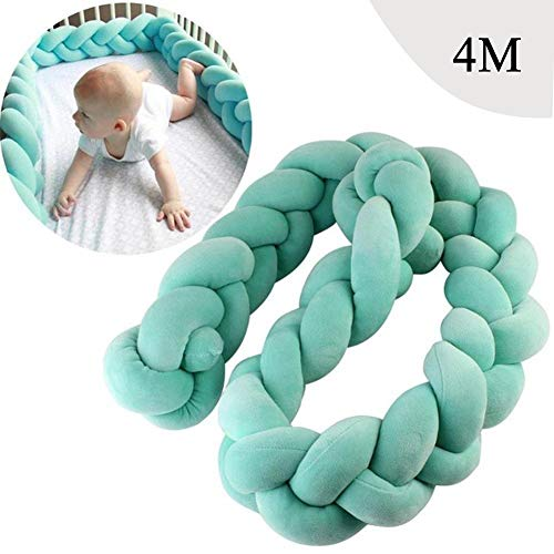 Baby Infant 4m Crib Bumper Pads Knotted Braided Plush Nursery Bed Safety Rail Guard, Cradle Protector, Cot Sleep Bumper Pillow, Knot Ball, 3-Strand, Pure Color,Green