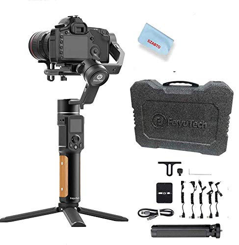 FeiyuTech AK2000C Gimbal Camera Handheld Stabilizer with OLED Touch Screen Compatible for DSLR Camera Sony A9/A7series a6300 Canon M50 EOS R Panasonic Nikon Fujifilm 4.85 lb Payload,Quick Charge