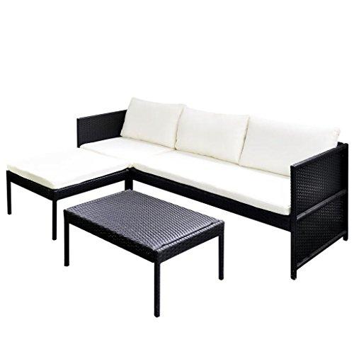 vidaXL Set de Muebles de Jardín con Sofá de 3 Plazas Ratán Sintético Negro Mobiliario de Patio Sillones Mesa Asientos de Exterior Marerial Mimbre