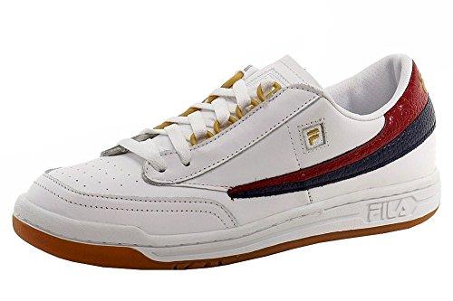 Fila Men's Original Tennis White/Navy/Red Fashion Leather Sneakers Shoes Sz: 8.5