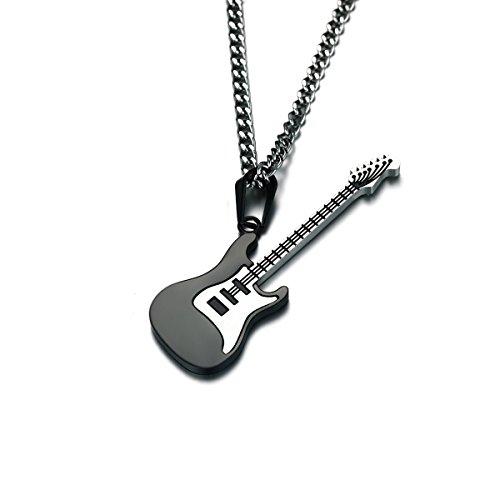 BESTOYARD Männer Neacklace Gitarre Musik Edelstahl Halskette Anhänger mit Kette (schwarz)