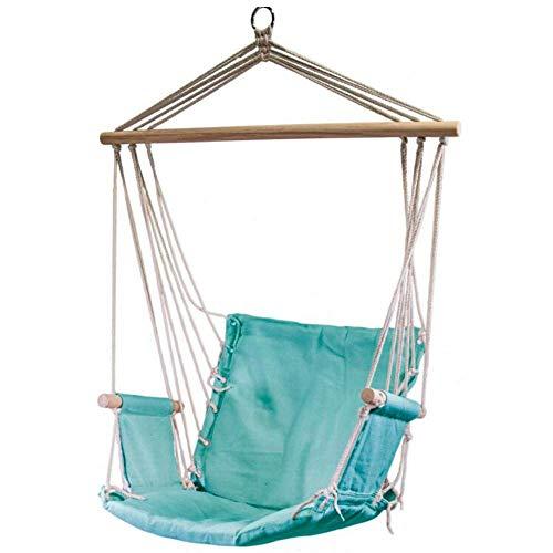 LuxuryGarden - Silla colgante de jardín, balcón y terraza con reposabrazos, asiento suspendido con soporte de madera, verde agua, 55 x 34 x 91 cm