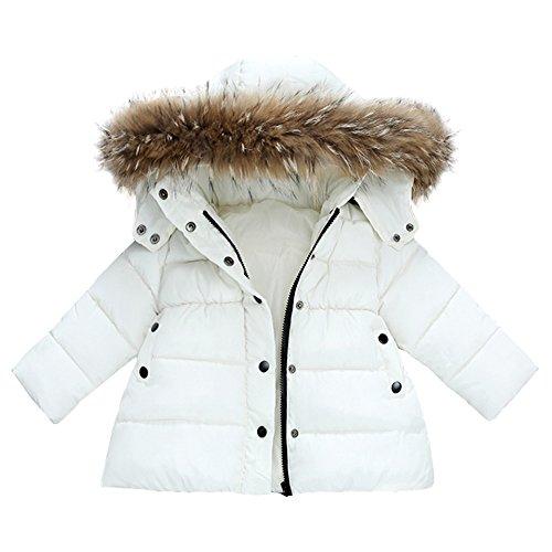 FeiliandaJJ Baby Mantel,Infant Toddler Mädchen Junge Winter Daunenjacke Kapuzenjacke Outwear Kinder Pelzkragen mit Reißverschluss Coat Warme Kleidung (80 (0~12Monate), Weiß)