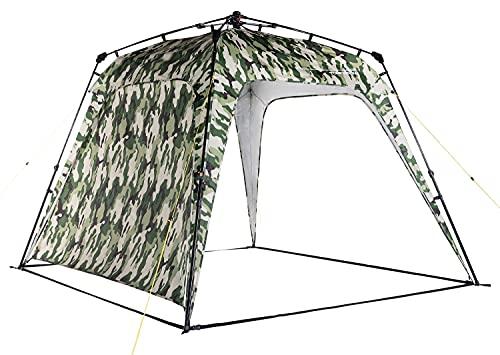 Lumaland x Where Tomorrow Gazebo de Camping – 1 Pared Lateral Incluido - Carpa de jardín – Cenador para Patio – Ideal para Acampada/Festival – Instalación Fácil – Verde Camuflaje