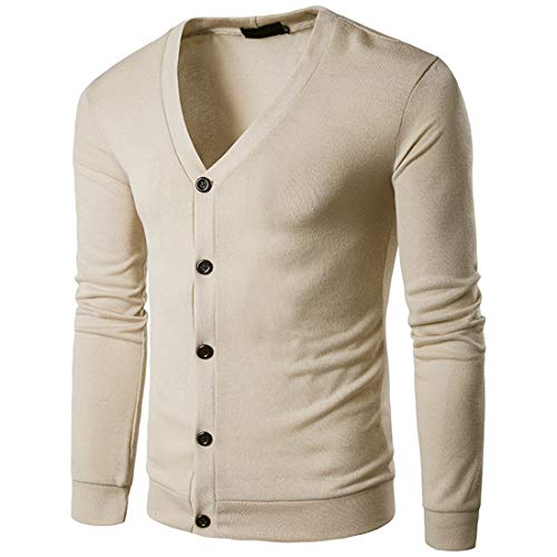 Tops Men Cardigans Men Buttons Comfortable Fine Knitted All-Match Men Cardigans Fall Slim Long Sleeve Solid Color Simple Casual Men Sweaters E-Beige XXL