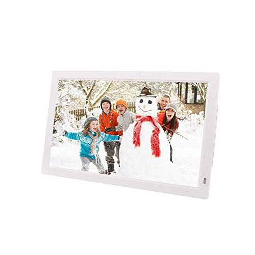 BAQQ Marco de fotos digital de 32 pulgadas 1920 x 1080 HD LED multifunción máquina de publicidad compatible con HDMI USB múltiples interfaces imagen marco electrónico de fotos, color blanco