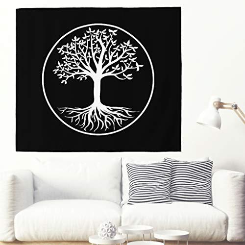 Tapiz psicodélico negro y blanco, árbol de la vida, diseño étnico de árbol de la vida, círculo de vida, alfombra de pared, meditación espiritual, manta de pared, decoración de pared 230x150cm blanco