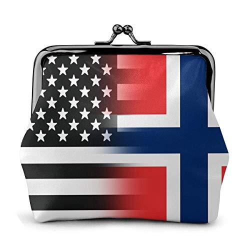 Monedero de cuero con hebilla de la bandera de Noruega en blanco y negro