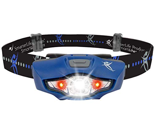 LED Headlamp Flashlight by SmarterLife - Ideal Running Lights for Runners with 6 White & Red Light Modes - Headlamps for Adults, Kids, Hiking, Camping - Only 1.5.Oz & Uses 1 Battery (Midnight Blue)