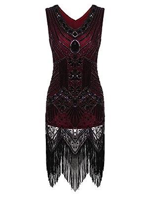 Zeagoo Women's Gatsby Sequin Dress Vintage V Neck Flapper Cocktail Party Dress