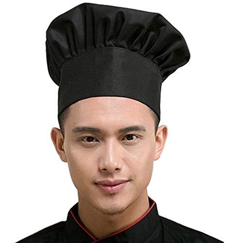 Fumeepro Kitchen Supply Gorra ajustable elástica para catering adultos para cocinar repostería y cocinero, gorro de cocinero para niños y adolescentes, disfraz de fiesta (negro)
