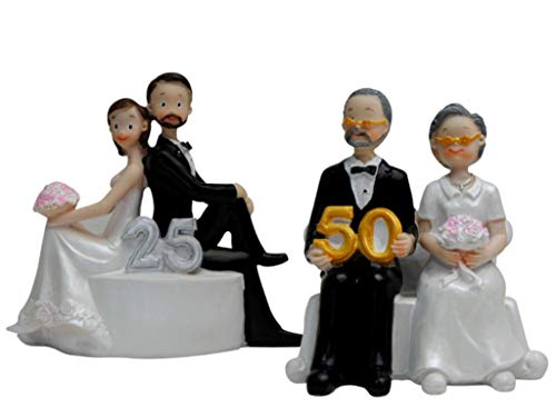 CAPRILO Elegante Figura de Resina para Tarta de Aniversarios 50-25