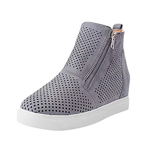 Dorical Plateau Stiefeletten Sandalen,Damen Keilabsatz Schuhe Wedge Sneaker Kunstleder Reißverschluss Elegant Gr.35-43 EU Reduziert(Grau,39 EU)