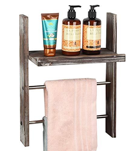 J JACKCUBE DESIGN Rustic Wood Wall Mount Towel Rack with Shelf, Blanket Ladder for Bathroom, Kitchen Hand Towels Holder, Stainless Towel Bar Hanger Farmhouse Decor - MK576A