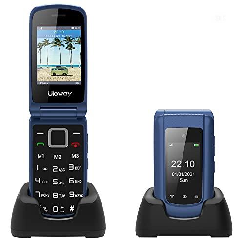 Uleway Teléfono Móvil con Tapa para Personas Mayores con Teclas Grandes, Telefonos Basicos con Pantalla de 2.4 Pulgadas Botón SOS, Cámara, Fácil de Usar para Ancianos