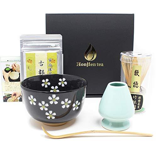 日本土産に 黒花 お抹茶6点セット ほんぢ園 抹茶茶碗 数穂 茶杓 くせ直し 薄茶 説明書 ギフトボックス