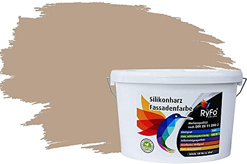 RyFo Colors Silikonharz Fassadenfarbe Lotuseffekt Trend Beige 10l - bunte Fassadenfarbe, weitere Braun Farbtöne und Größen erhältlich, Deckkraft Klasse 1