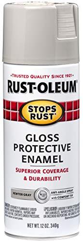 Rust-Oleum 7783830 Stops Rust Spray Paint, 12-Ounce, Gloss Pewter Gray