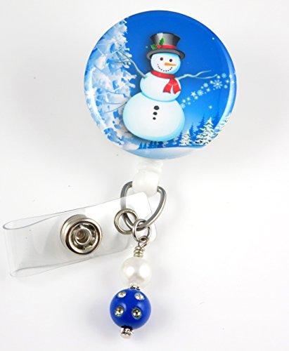 Christmas Snowman with Snowflakes Mylar - Nurse Badge Reel - Retractable ID Badge Holder - Nurse Badge - Badge Clip - Badge Reels - Pediatric - RN - Name Badge Holder