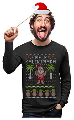 Mele Kalikimaka Hawaiian Santa Themed Ugly Christmas Sweater Long Sleeve T-Shirt X-Large Black