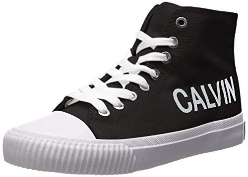 Calvin Klein Jeans Women's IOLE Sneaker, Black Canvas, 9.5 M US