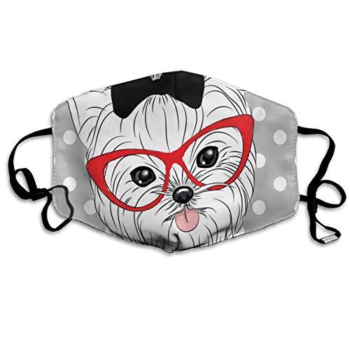 Tilted Head Terrier I Love My Yorkie Rojo Nerd Gafas Amor Corazón Lunares Impresión para Adultos