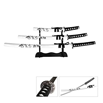 Snake Eye Tactical Fantasy Dragon Design 3 Piece Samurai Katana Set w/Free Sword Stand White