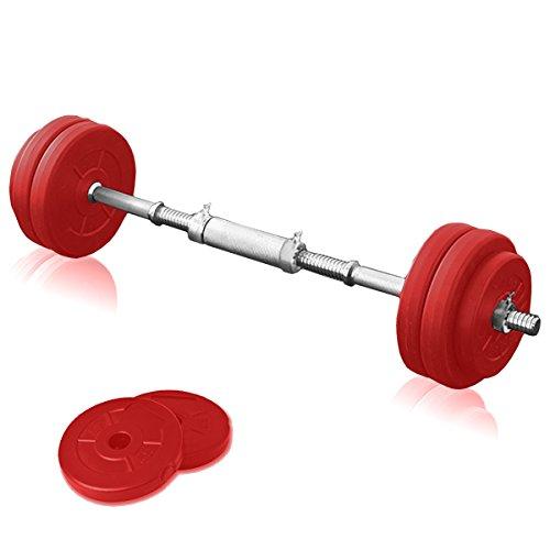 FIELDOOR セメントダンベル 10kg×2セット レッド シャフト径28mm 【シャフト連結ジョイント付】 【筋力トレーニング/ダイエット/シェイプアップ】